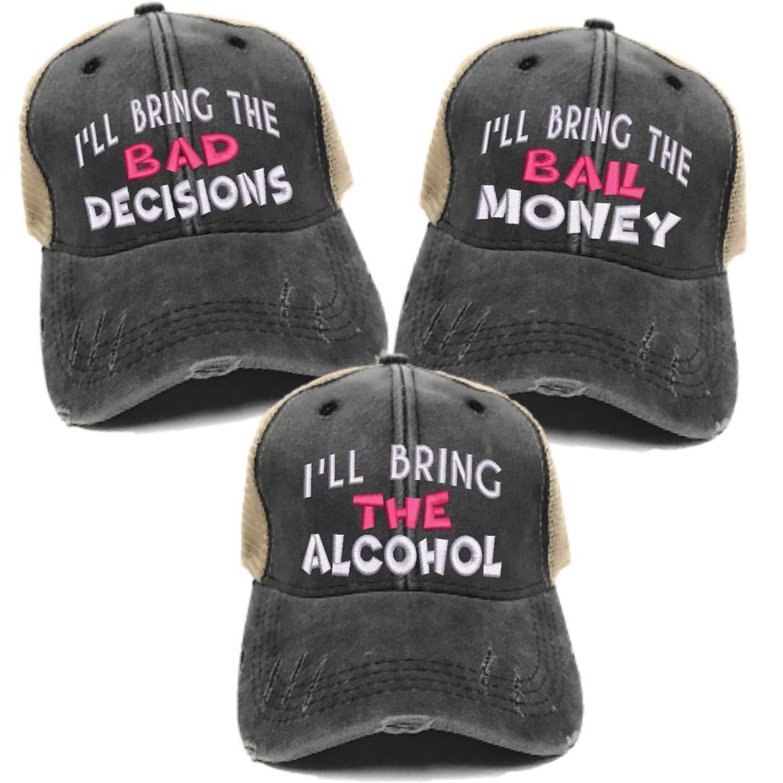 0aa1669d32a Ill bring the alcohol bad decisions trucker hats set distressed ball cap  set of hot pink