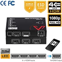 HDMI 2.0 Switch 4K 60Hz 4 in 1 Out Selector IR Remote, 4 Port Switcher Splitter Powered 18Gbps YUV4:4:4, 1080P, HDR10, Dobly Vision, HDCP 2.2, 3D, 4 x 1 Multi HDMI Hub for TV, PS4 Pro, Xbox One S/X