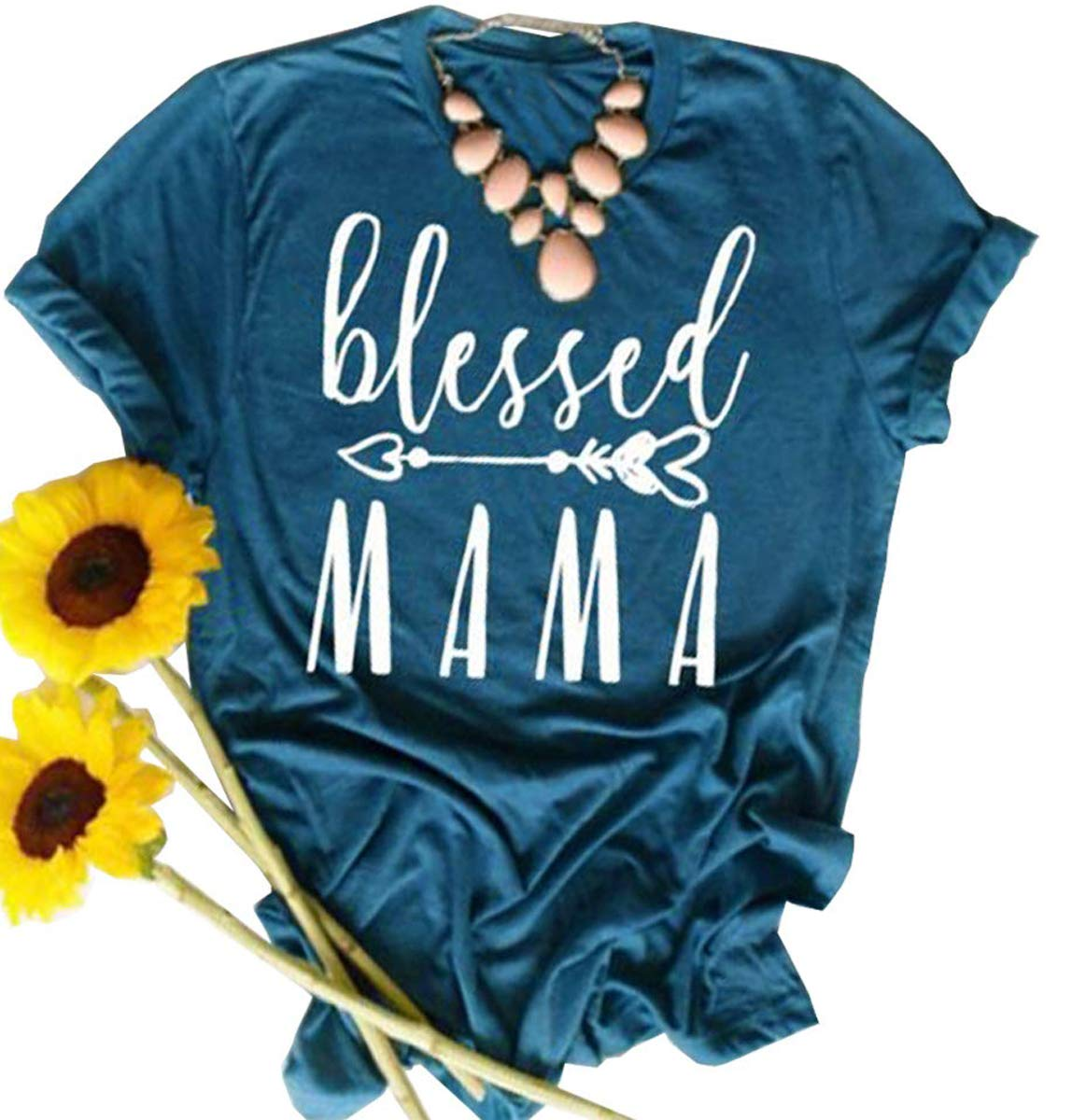 10387ea2 Blessed Mama Heart Arrow T-Shirt Women Thanksgiving Mother's Day Tee Size  XL (Blue)