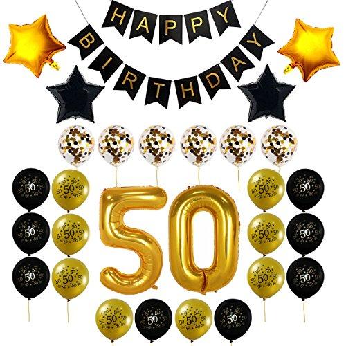 Birthday 50th Confetti (50th Birthday Decorations Gift for Men Women - 50th Birthday Balloons, Confetti Balloons, Happy Birthday Banner, 50 Gold Number Balloons,)