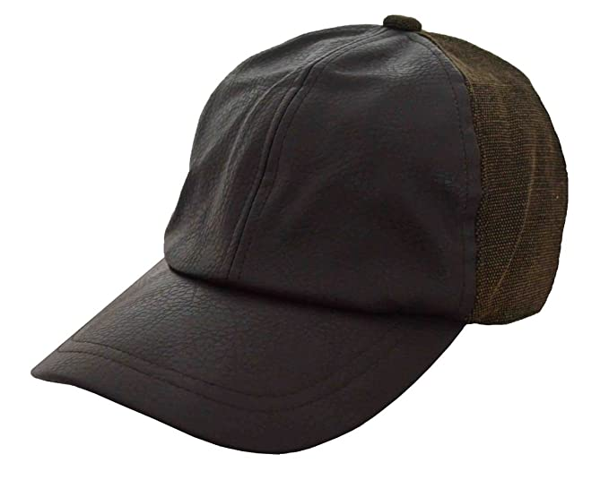 DPC Men s Fleece Lining Unstructured Faux Leather Baseball Cap Brown ... 49ca9748676
