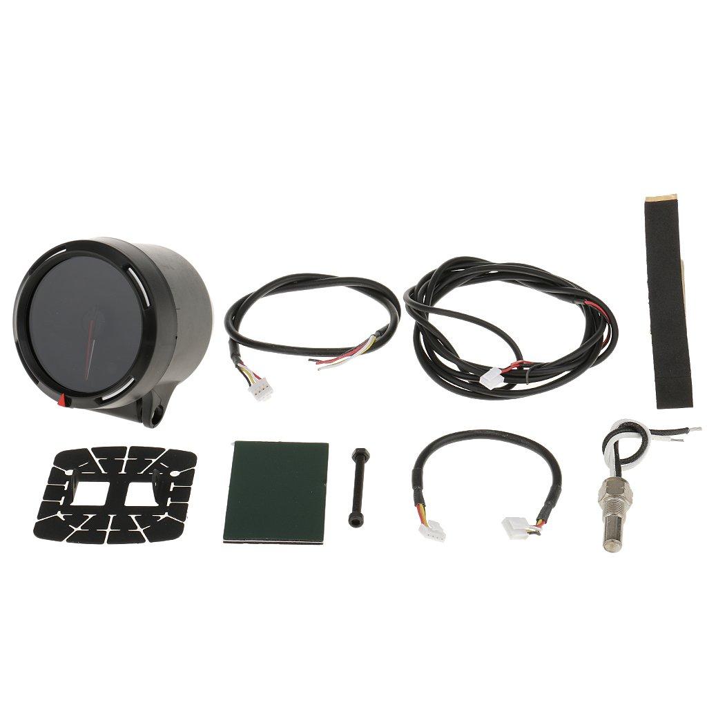 MagiDeal 60mm 2.4inch Negro 7 Color Agua Refrigerante Temperatura Indicador Medidor Universal Accesorios