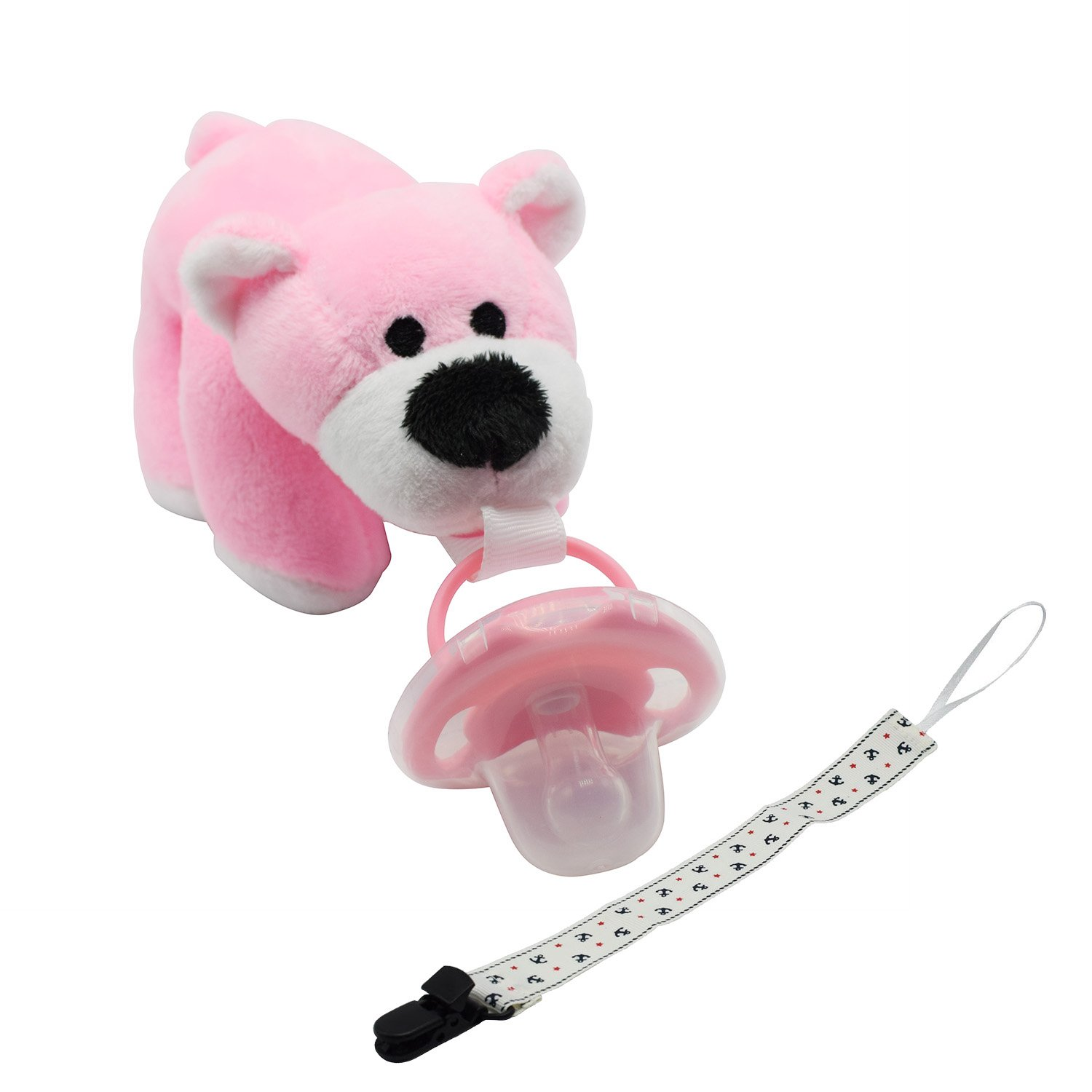 Tinabless Infant Bear Pacifier Holder Stuffed Animal Toy with Pacifier Clip by Tinabless   B01J0TITHM
