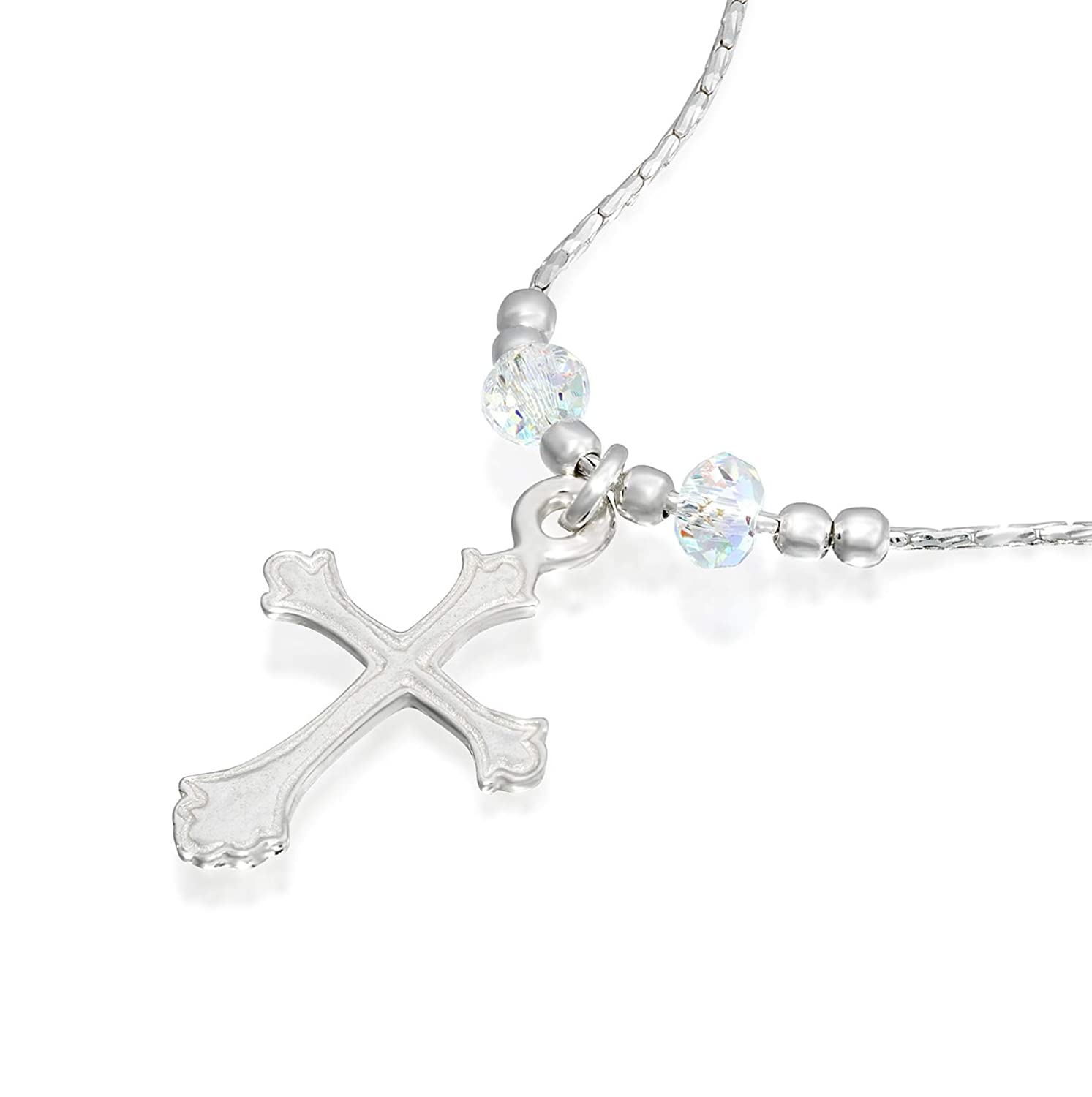 260e4cd0b1061 Stera Jewelry Silver Necklace Choice of Cross Pendants Made with Swarovski  Crystals, 16 + 4 inches