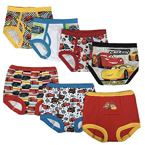 Disney Cars Boys Potty Training Pants Underwear Toddler 7-Pack, Cars Multi, 3T