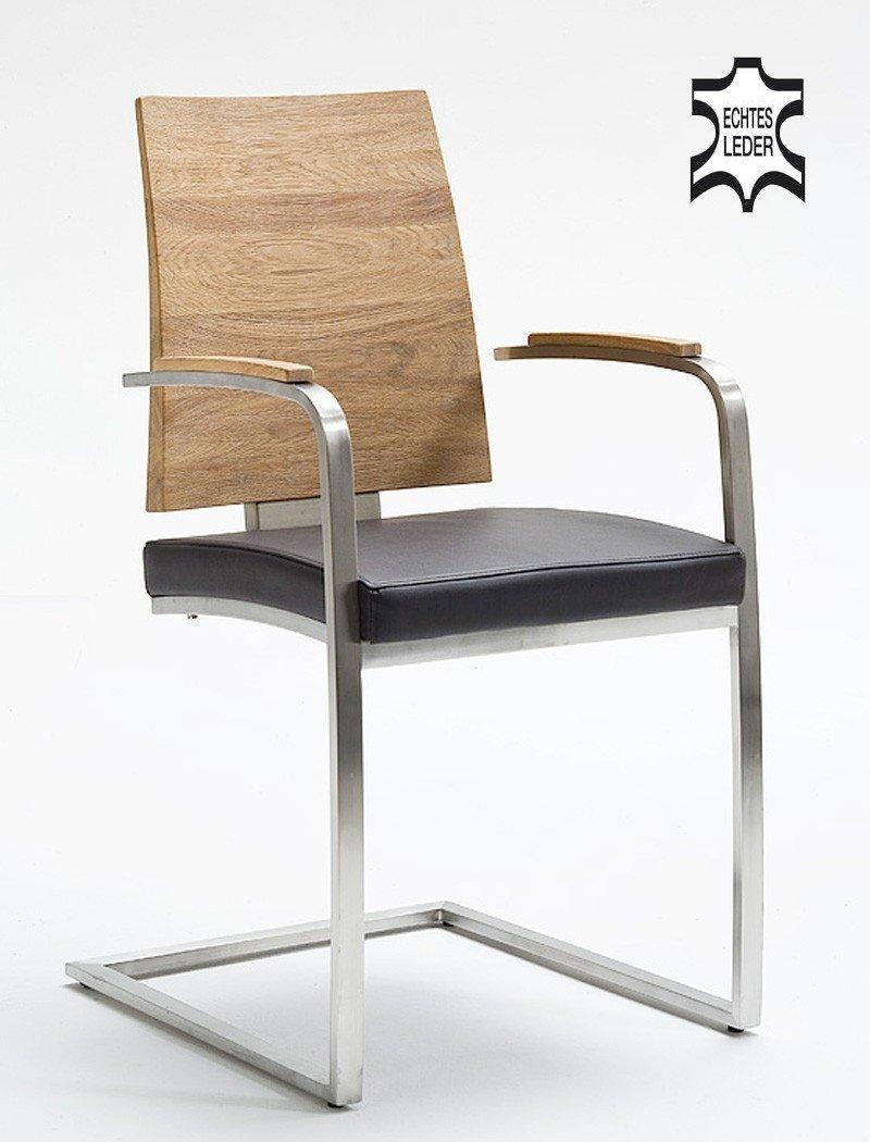 6x Schwingstuhl Modest Leder Braun Edelstahl Polsterstuhl Lederstuhl