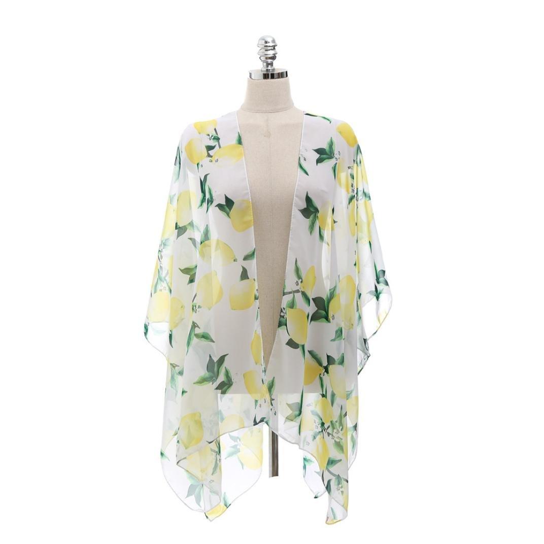 Women Coat,Coromose Young Girls Floral Summer Beach Kimono Cover-up Cardigan Nary) Coromose 1569