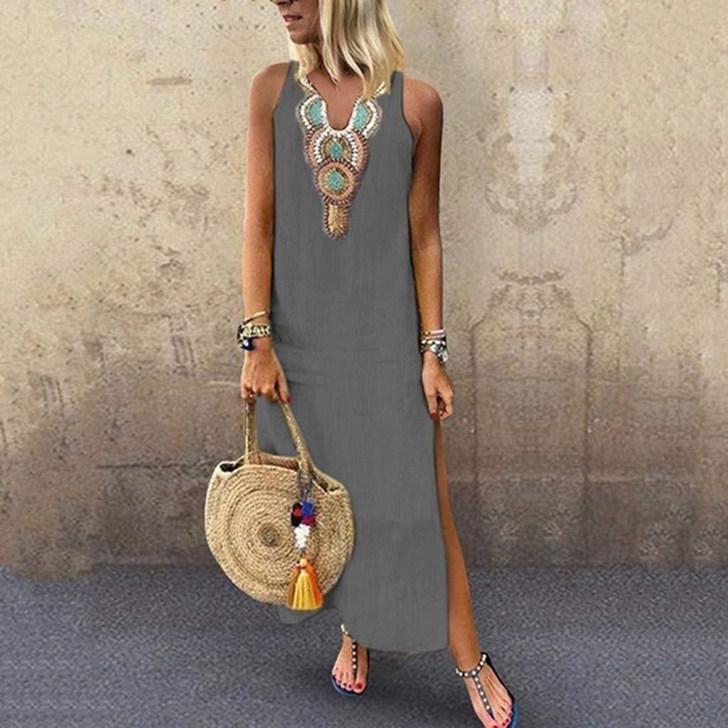Handyulong Womens Dresses Plus Size Vintage V-Neck Boho Maxi Dress High Split Casual Loose Beach Sundress Cocktail