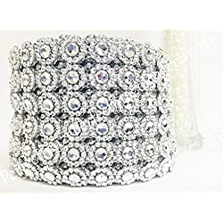 "Perfectmaze 4"" X 10 Yards (30 Feet) Flower Mesh Rhinestone Ribbon Wrap for Wedding, Party, and Events Decoration (Flower Diamond, Silver)"