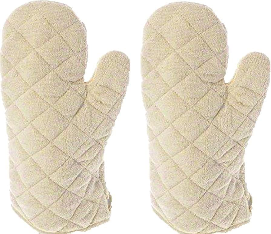Update International Terry Cloth Oven Mitt Heat Resistant to 600° F, Set of 2