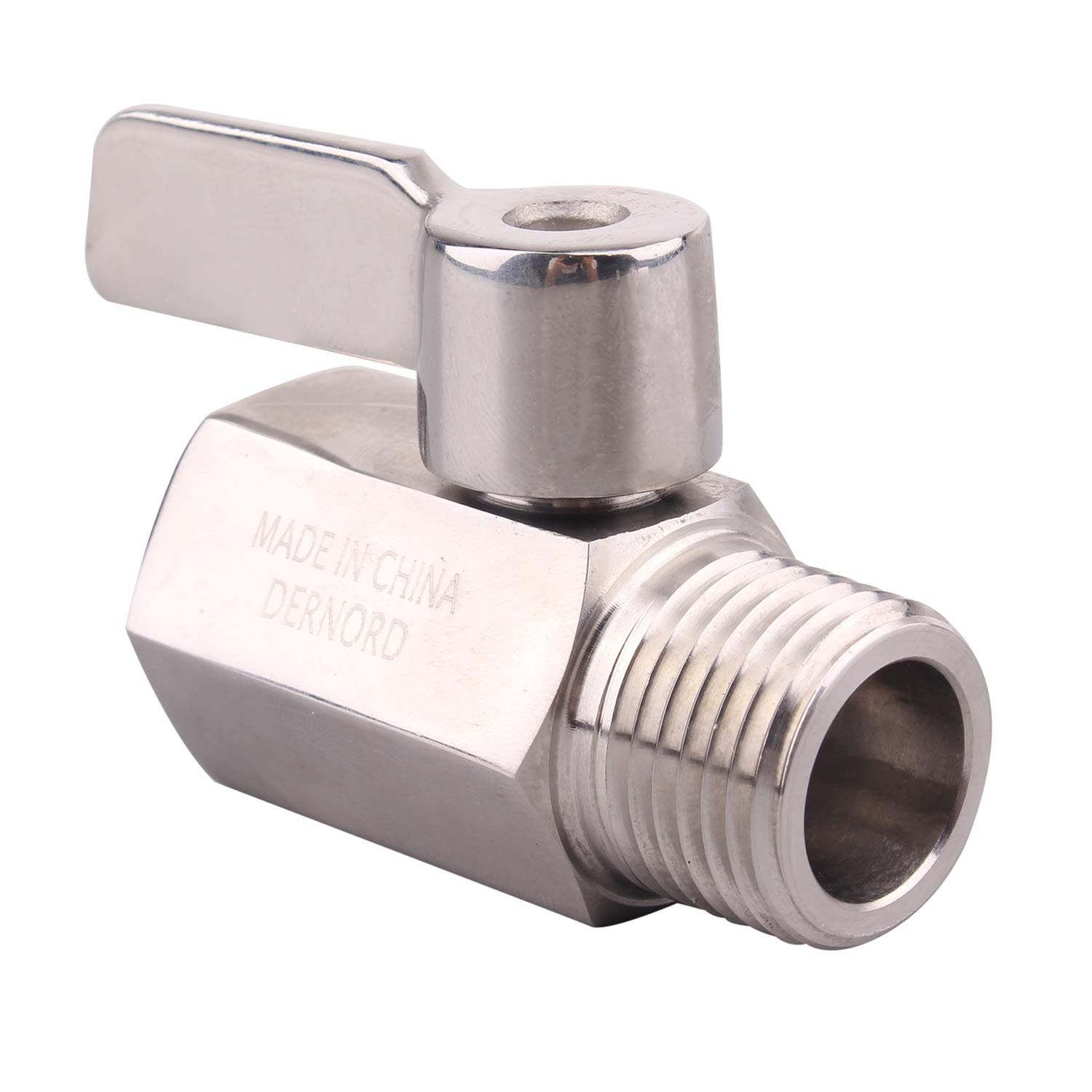 Stainless Steel 304 Mini Ball Valve Female X Male Double4U 1//2 inch NPT Ball Valve