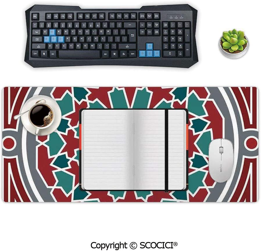 AmaUncle Professional Large Gaming Mouse Cushion Christmas Themed Corner Composition with Bird Sitting on Wild Berry Extended Size Desk Mat Non-Slip Rubber Mouse Pad 23.6 x 11.8 inch