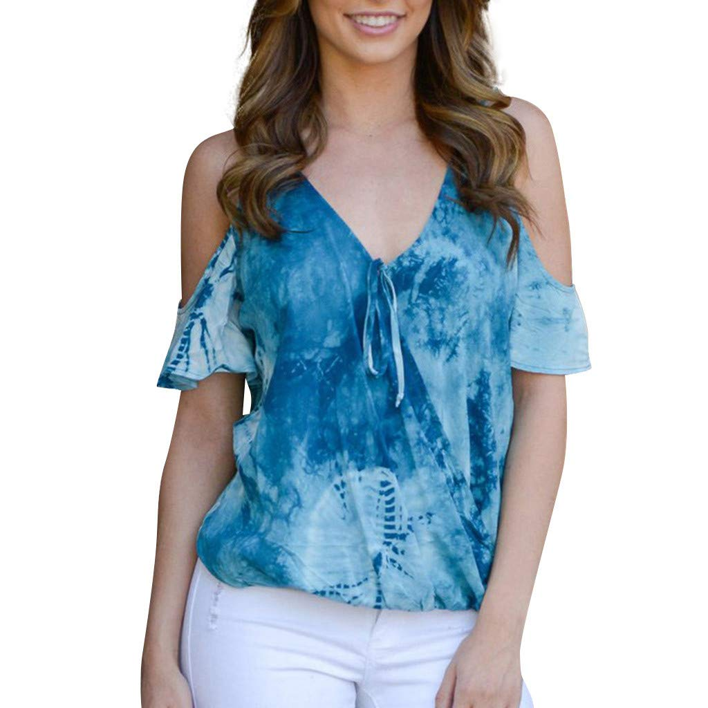 TnaIolral HOT! Women Blouse Strapless V-Neck Printed Color Block Bandage Tops Blue