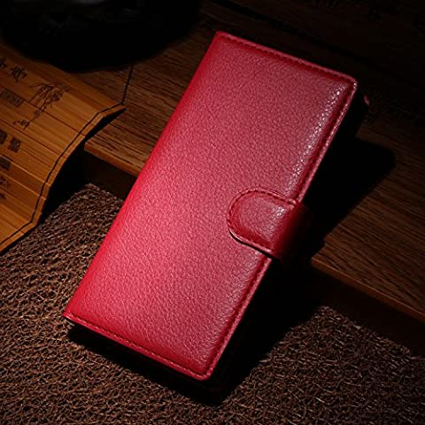 Elfe Boutique Nokia Lumia 930 Leather Case - Litchi Skin Style Wallet Card Pouch Stand Devise Flip Leather Case Cover for Nokia Lumia 930 ( Red (Nokia Lumia 930 Mobile)