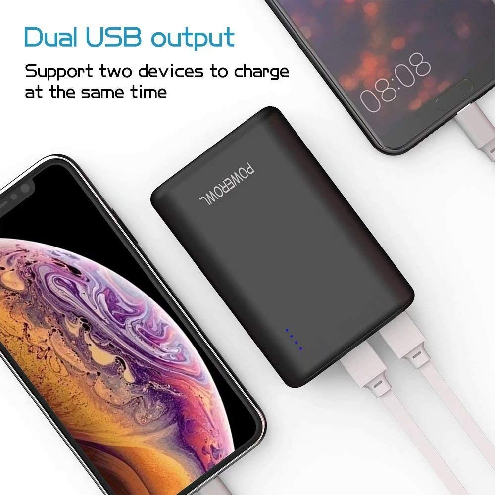 POWEROWL Power Banks 10000mAh High Capacity Portable Phone Charger External Battery Charger Compatible with iPhone iPad Huawei Samsung Xiaomi and more(Black)