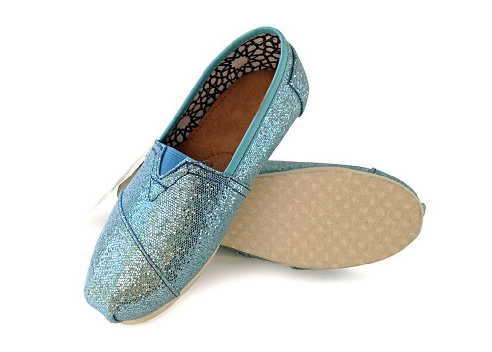 Playworld Womens Classic Sequin Slip On Shoes Ballerina Ballet Flats Loafers B01BS50MCG 7 B(M) US|Skyblue