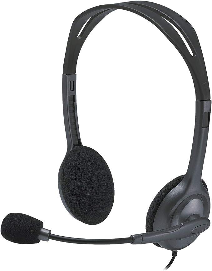 Logitech H111 Auriculares con Cable, Sonido Estéreo con Micrófono Giratorio, Jack 3,5mm, PC/Mac/Portátil/Smartphone/Tablet , Negro: Logitech: Amazon.es: Electrónica