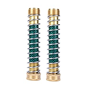 MaoFa Garden Hose Coiled Spring Protector with Solid Brass Faucet Hoses Coupling Adapter Extension 2Pcs (2pieces)