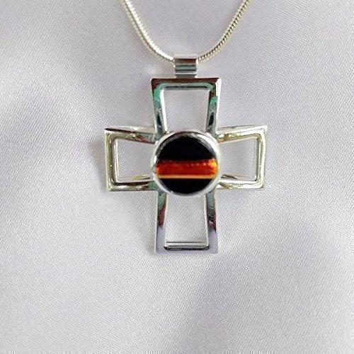 Dichroic Glass Pendant Jewelry - THIN RED LINE FIREFIGHTER Cross Dichroic Fused Glass Jewelry Pendant with Necklace