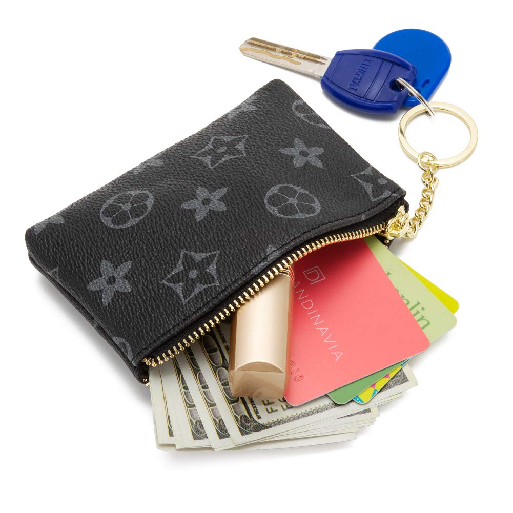 LLGGVE Checkered Zipper Coin Purse PU Vegan Leather waller Mini Key Ring Wallet Card Case