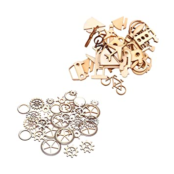 Prettyia 36 Pieces Assorted Wooden Shape Vintage DIY Cutouts Wooden Gears Steampunk Style for Scrapbooking Crafting DIY Wind Chimes Home Party Decorations