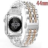 Maxku Apple Watch Series 5 44mm / Apple Watch 4 44mm バンドビジネス風 金属 ステンレス製 精密製作 高級腕時計ストラップ/バンド アップル ウォッチ シリーズ 4/5 44mm 交換ベルト (ローズゴールド)