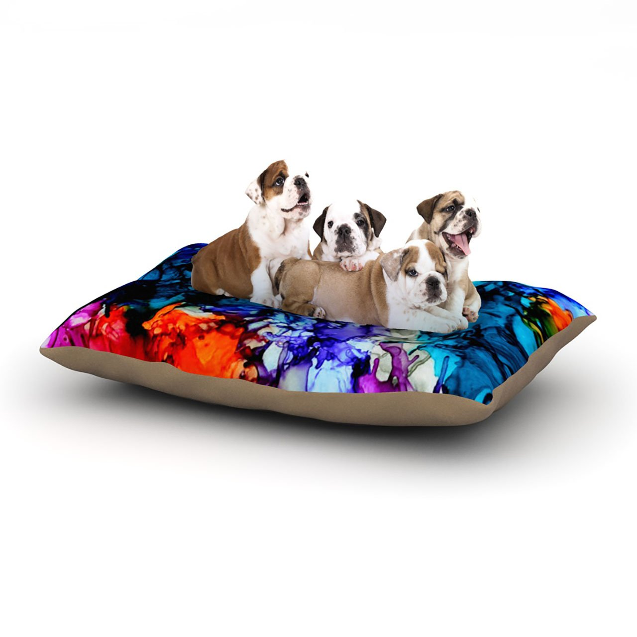 Large 30\ Kess InHouse Claire Day Evanescence  bluee Rainbow Dog Bed, 50 by 60-Inch