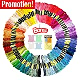 #2: Premium Rainbow Color Embroidery Floss-Embroidery Thread-Cross Stitch Threads-Friendship Bracelets Floss-Crafts Floss-100 Skeins Per Pack-Free Embroidery Needles Set and 20 Pcs Colorful Floss Bobbins