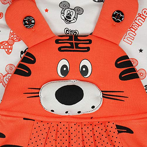 ICABLE Baby Boy's and Baby Girl's Soft Applique Cotton Dungaree Set with Half Sleeves Regular Fit T-Shirt for Kids (Dark Peach, 0-6 Months)