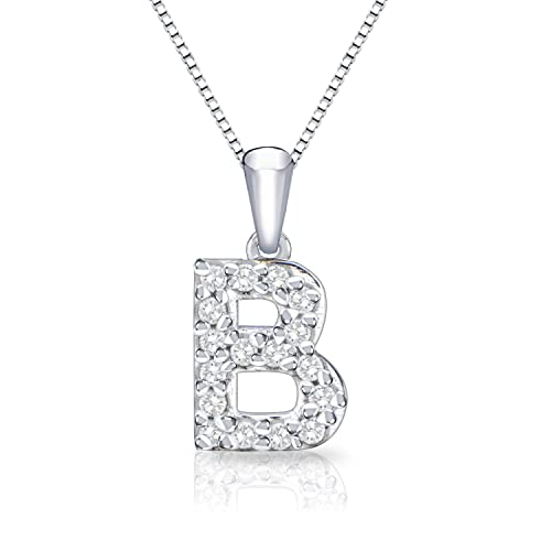 Diamond Initial Pendant Necklace in 14k White Gold (1/10 cttw) 18""