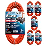 US Wire 63050 14/3 50-Foot SJTW Orange Medium Duty Extension Cord Bundle (6-Pack)
