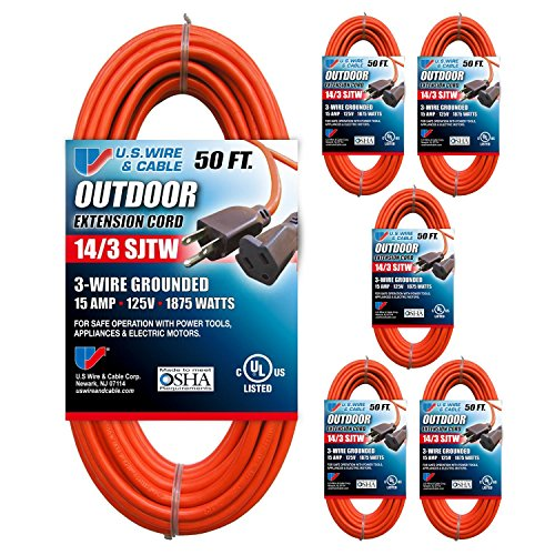 US Wire 63050 14/3 50-Foot SJTW Orange Medium Duty Extension Cord Bundle (6-Pack) by U.S. Wire and Cable