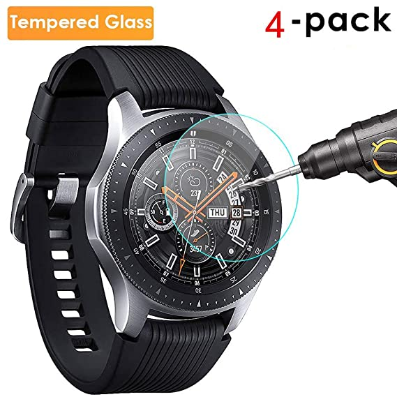 iHYQ for Samsung Galaxy Watch 46mm Gear S3 Frontier/Classic Tempered Glass Screen Protector, Anti-Scratch, Anti-Fingerprint, Bubble Free 4-Pack[Full ...