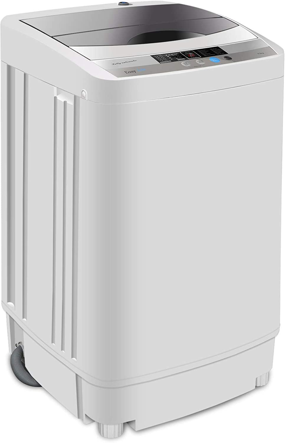 SUPER DEAL Newest Portable Full-Automatic Washing Machine 1.6 Cu. ft. Laundry Washer 2in1 Washer&Spinner w/Drain Pump and Extra Long Hose