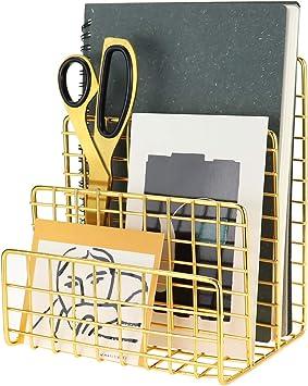 Brochures /& Postcards Files Rose Gold Office Organization for Mails 3 Slots Letter Sorter LEORISO Mail Holder Metal Mail Organizer Books