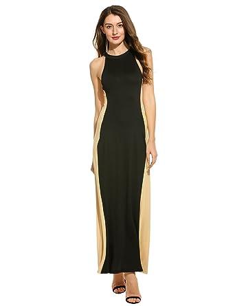 0b8ff23a8f Amazon.com  Meaneor Women O-Neck Sleeveless Slim Elastic Maxi Dress Long  Evening Dress Gowns  Clothing