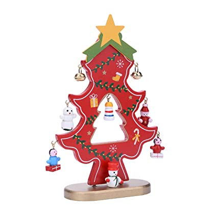 yc wooden christmas tree decorations crafts mini small flat plain red 1pc - Wooden Christmas Tree Decorations