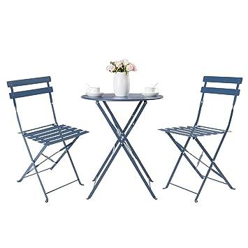 HollyHOME Juego de Muebles de balcón Plegables de Acero al Aire Libre, 3 Piezas de Mesa y sillas Plegables, Azul oscuro