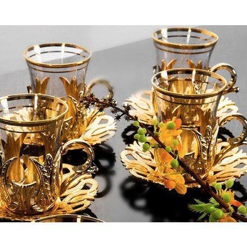 (SET OF 6) Turkish Tea Glasses Set 6 Tea Serving Cups Saucers - Gold