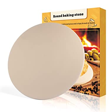 Pizza Stone, 16''x 16'' Round Engineered Tuff Cordierite Durable Baking Stones for Ovens & Grill & BBQ, Stone Oven Round Pizza Stone