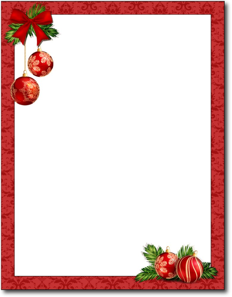 Red Christmas Bulbs Stationery Paper - 80 Sheets by Desktop Publishing Supplies, Inc.
