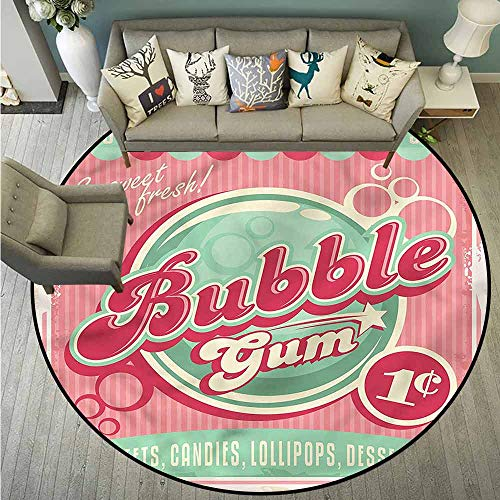 - Round Carpets,1950s,Sweet Bubble Gum Lollipop,Super Absorbs Mud,5'3