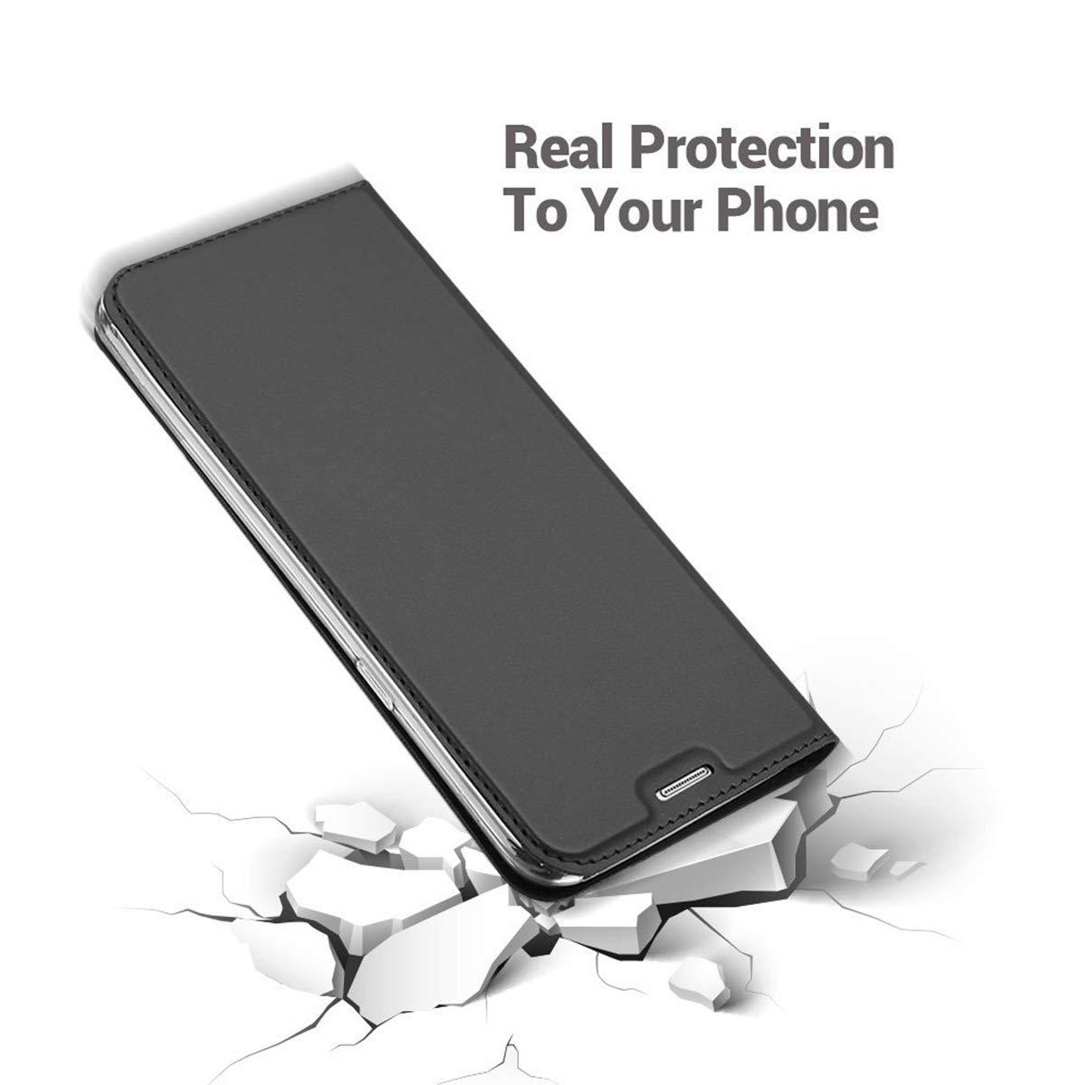 pour Huawei P Smart 2018,Ultra Mince en Cuir PU Premium Housse /à Rabat Portefeuille avec Aimant Folio pour Huawei P Smart 2018,Gris Noir Verre Tremp/é Penlicraft Coque pour Huawei P Smart 2018,