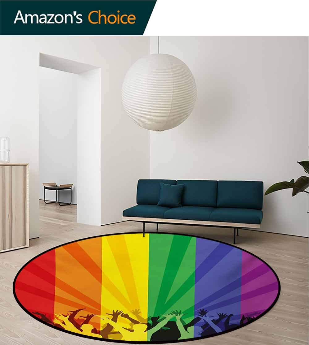 RUGSMAT Pride Modern Machine Washable Round Bath Mat,People Celebrating International Day for LGBT Community with Colorful Striped Design Non-Slip Soft Floor Mat Home Decor,Diameter-71 Inch by RUGSMAT (Image #6)