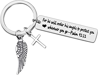 Bible Verse Keychain Religious Jewelry for He Will Order His Angels to Protect You Wherever You Go Faith Key Chain Christian Gift Cross Charm Keychain Thanksgiving Christmas Easter Prayer Gift