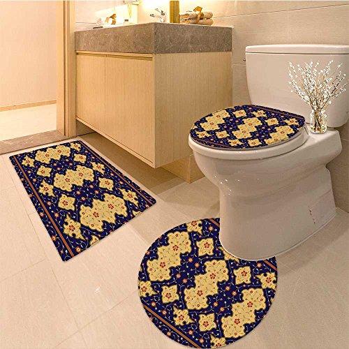 3 Piece Bath mat set Traditiona Arabic Border Visua Ottoman Art Inspired Unusua Repeating Pattern Fabric Bathroom Rugs Contour Mat Lid Toilet Cover