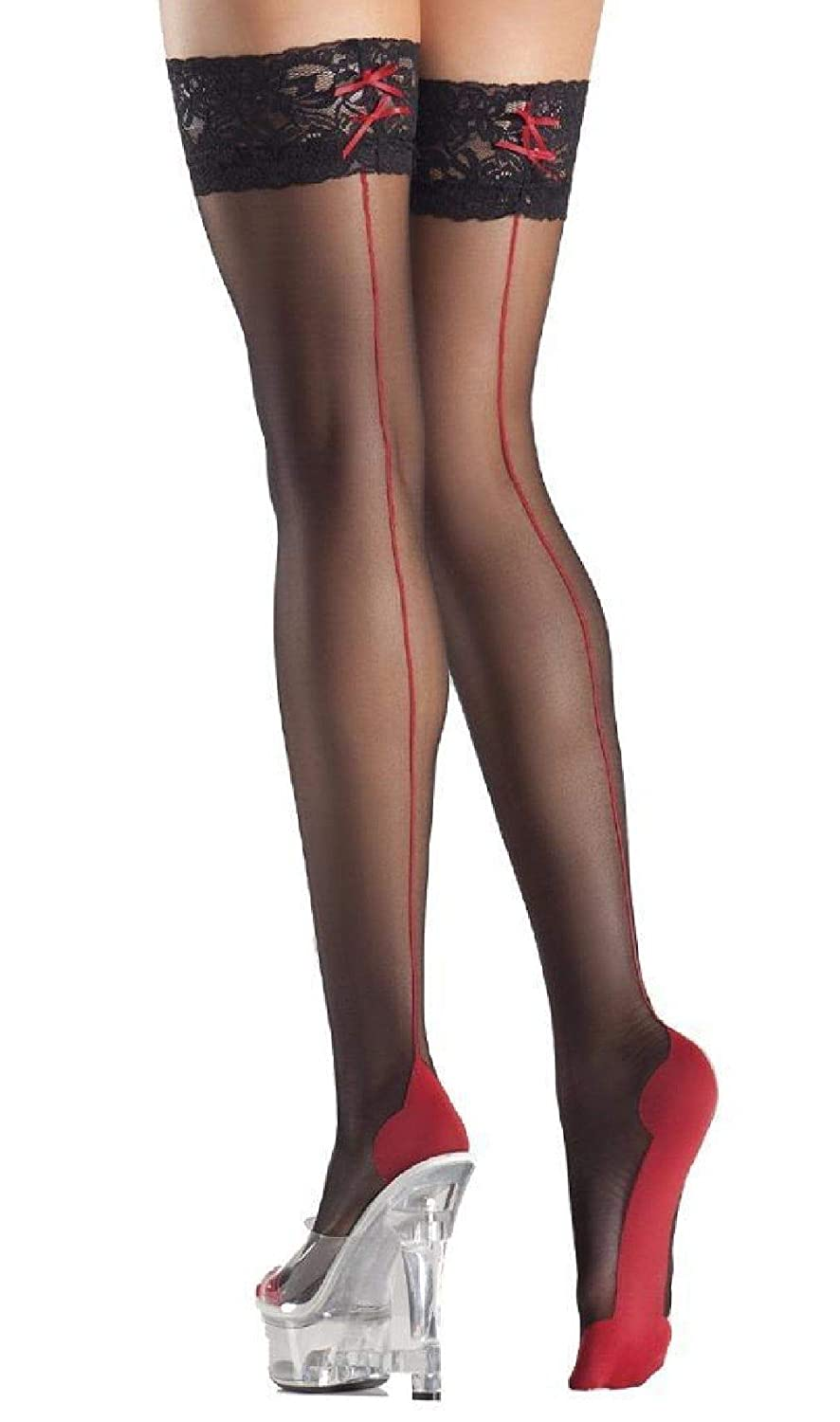 bd9071205fef0 Amazon.com: Red Cuban Foot Heel Thigh Highs Stockings Back Seam Lace ...