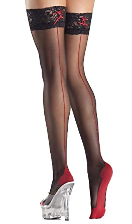 ef5a04cf2 Image Unavailable. Image not available for. Color  Red Cuban Foot Heel Thigh  Highs Stockings Back Seam Lace Top Sheer Hosiery