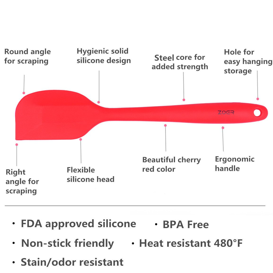 4 Piece Cherry Red Heat Resistant Baking Tools ZOER Premium Silicone Spatula Set in Hygienic Solid Coating