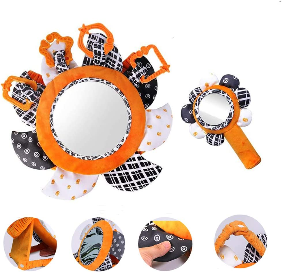 2 High Contrast Baby Toys for 0-3 Months (Tummy Time Mirror and Little Handheld Mirror) ,Infant Stroller/ Gym/ Crib Hanging Toys Crinkle and Squeak,Black and White Visual Stimulation for Babies